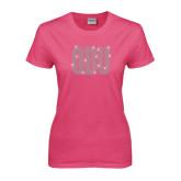 Ladies Fuchsia T Shirt-OBU Wordmark Rhinestones