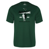Performance Dark Green Tee-NCCAA National Champions Womens Outdoor Track and Field back to back
