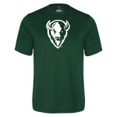 Performance Dark Green Tee-Charging Bison White