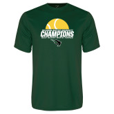 Performance Dark Green Tee-NCCAA Mens Tennis Champions 2017 - Half Ball