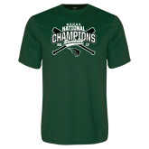 Performance Dark Green Tee-2017 NCCAA National Champions - Baseball Crossed Bats