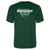 Performance Dark Green Tee-2017 NCCAA National Champions - Baseball Script