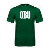 Performance Dark Green Tee-OBU Wordmark