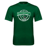 Performance Dark Green Tee-Bison Basketball w/ Ball