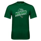 Performance Dark Green Tee-Bison Basketball Slanted Stacked