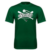 Performance Dark Green Tee-Softball Crossed Bats