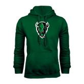 Dark Green Fleece Hood-Charging Bison