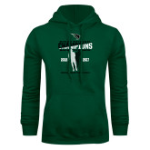 Dark Green Fleece Hood-NCCAA National Champions Mens Outdoor Track and Field back to back