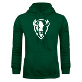 Dark Green Fleece Hood-Charging Bison White
