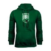 Dark Green Fleece Hood-Shield Logo