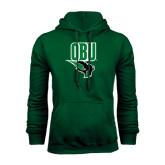 Dark Green Fleece Hood-Stacked Logo