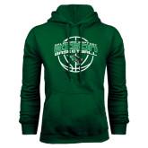 Dark Green Fleece Hood-Bison Basketball w/ Ball