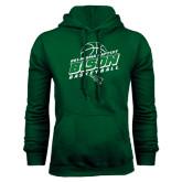 Dark Green Fleece Hood-Bison Basketball Slanted Stacked