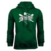 Dark Green Fleece Hood-Softball Crossed Bats