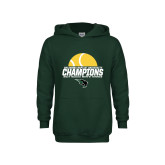 Youth Dark Green Fleece Hoodie-NCCAA Mens Tennis Champions 2017 - Half Ball