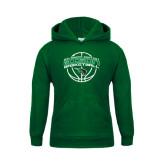Youth Dark Green Fleece Hoodie-Bison Basketball w/ Ball