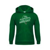Youth Dark Green Fleece Hoodie-Bison Basketball Slanted Stacked