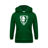 Youth Dark Green Fleece Hoodie-Charging Bison White