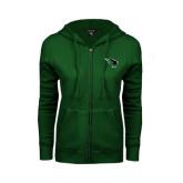 ENZA Ladies Dark Green Fleece Full Zip Hoodie-Power Bison