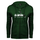 ENZA Ladies Dark Green Fleece Full Zip Hoodie-NCCAA National Champions Mens Outdoor Track and Field