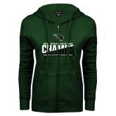 ENZA Ladies Dark Green Fleece Full Zip Hoodie-NCCAA National Champions Womens Outdoor Track and Field
