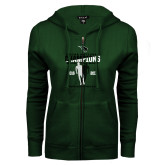 ENZA Ladies Dark Green Fleece Full Zip Hoodie-NCCAA National Champions Womens Outdoor Track and Field back to back