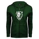 ENZA Ladies Dark Green Fleece Full Zip Hoodie-Charging Bison White