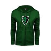 ENZA Ladies Dark Green Fleece Full Zip Hoodie-Charging Bison