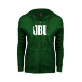 ENZA Ladies Dark Green Fleece Full Zip Hoodie-OBU Wordmark