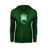 ENZA Ladies Dark Green Fleece Full Zip Hoodie-Shield Logo