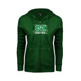 ENZA Ladies Dark Green Fleece Full Zip Hoodie-Basketball