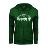 ENZA Ladies Dark Green Fleece Full Zip Hoodie-Oklahoma Football Horizontal