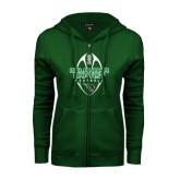 ENZA Ladies Dark Green Fleece Full Zip Hoodie-Oklahoma Football Vertical