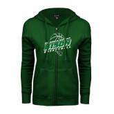 ENZA Ladies Dark Green Fleece Full Zip Hoodie-Bison Basketball Slanted Stacked