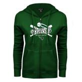 ENZA Ladies Dark Green Fleece Full Zip Hoodie-Softball Crossed Bats