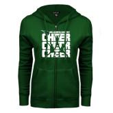 ENZA Ladies Dark Green Fleece Full Zip Hoodie-Cheer Stacked