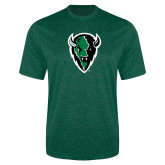Performance Dark Green Heather Contender Tee-Charging Bison