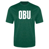 Performance Dark Green Heather Contender Tee-OBU Wordmark