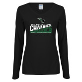 Ladies Black Long Sleeve V Neck T Shirt-NCCAA National Champions Womens Outdoor Track and Field