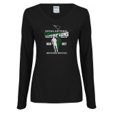 Ladies Black Long Sleeve V Neck T Shirt-NCCAA National Champions Mens Outdoor Track and Field back to back