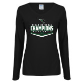 Ladies Black Long Sleeve V Neck T Shirt-2017 NCCAA National Softball Champions