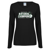 Ladies Black Long Sleeve V Neck T Shirt-2017 NCCAA National Baseball Champions