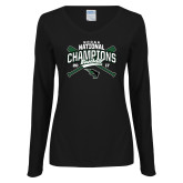 Ladies Black Long Sleeve V Neck T Shirt-2017 NCCAA National Champions - Baseball Crossed Bats