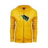 ENZA Ladies Gold Fleece Full Zip Hoodie-Power Bison