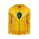 ENZA Ladies Gold Fleece Full Zip Hoodie-Charging Bison