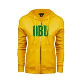 ENZA Ladies Gold Fleece Full Zip Hoodie-OBU Wordmark