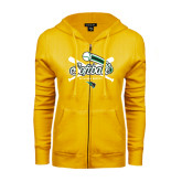ENZA Ladies Gold Fleece Full Zip Hoodie-Softball Crossed Bats