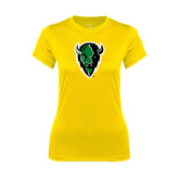 Ladies Syntrel Performance Gold Tee-Charging Bison
