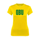 Ladies Syntrel Performance Gold Tee-OBU Wordmark