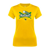 Ladies Syntrel Performance Gold Tee-Softball Crossed Bats